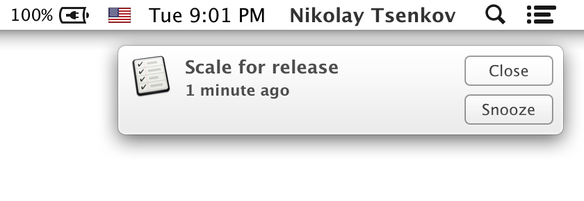 Image of a reminder notification for Scaling website resources for release.
